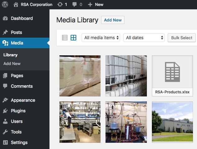 WordPress media library example