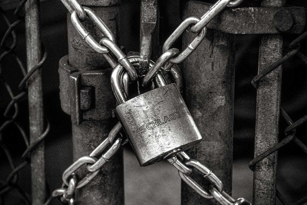 Padlock and chains