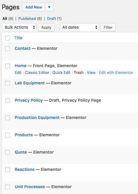 WordPress pages example