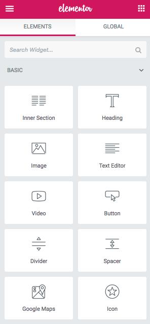 Elementor editing example